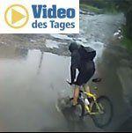 In bester Slapstick-Manier: Radfahrer köpfelt in Pfütze