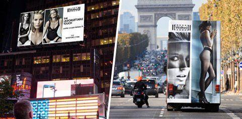 Wolford mit riesiger Werbung am Times Square und in Paris
