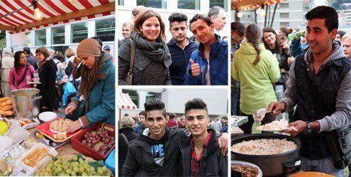 Kennenlern-Fest für Flüchtlinge und Bürger beim alten Hallenbad