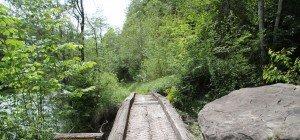 Eine Brücke zu viel auf der alten Bahntrasse des Wälderbähnle