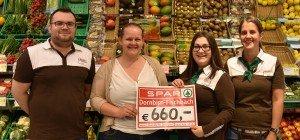 SPAR Dornbirn-Fischbach spendet 660,- Euro an die Lebenshilfe Dornbirn