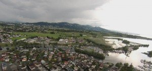 Luftaufnahmen vom Hochwasser in Fußach