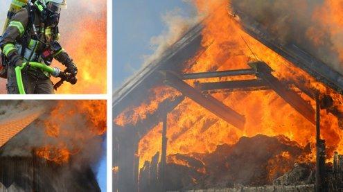 Großbrand in Schlins: Stall stand in Flammen – Heustock zerstört